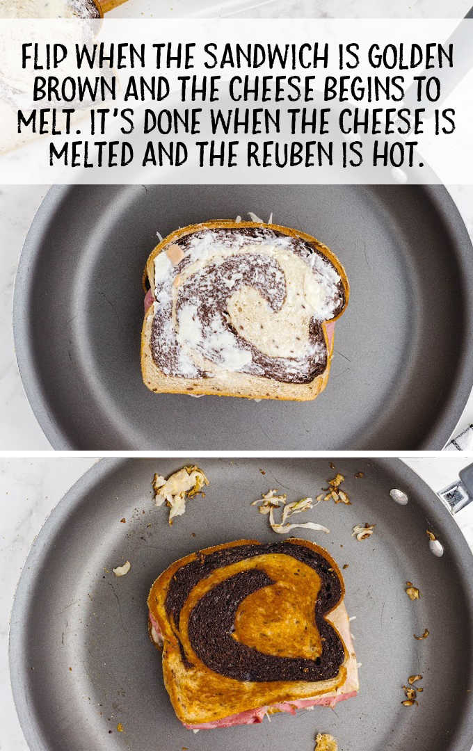 reuben sandwich process shot of sandwich being cooked on a pan