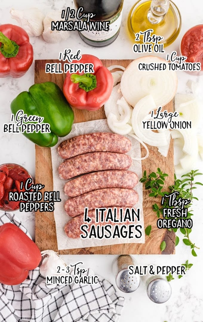 sausage and peppers raw ingredients that are labeled