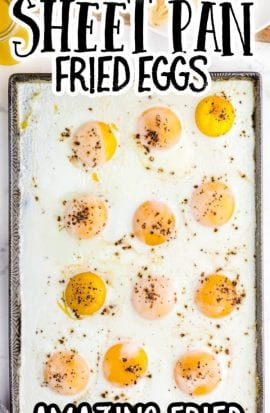overhead shot of sheet pan eggs topped with salt and pepper on a pan