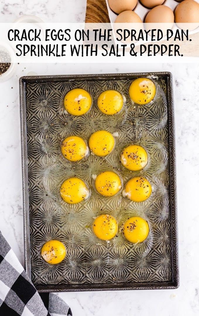 sheet pan eggs process shot of sheet pan eggs on a pan
