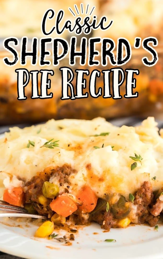 shepherd's pie garnished on a white plate