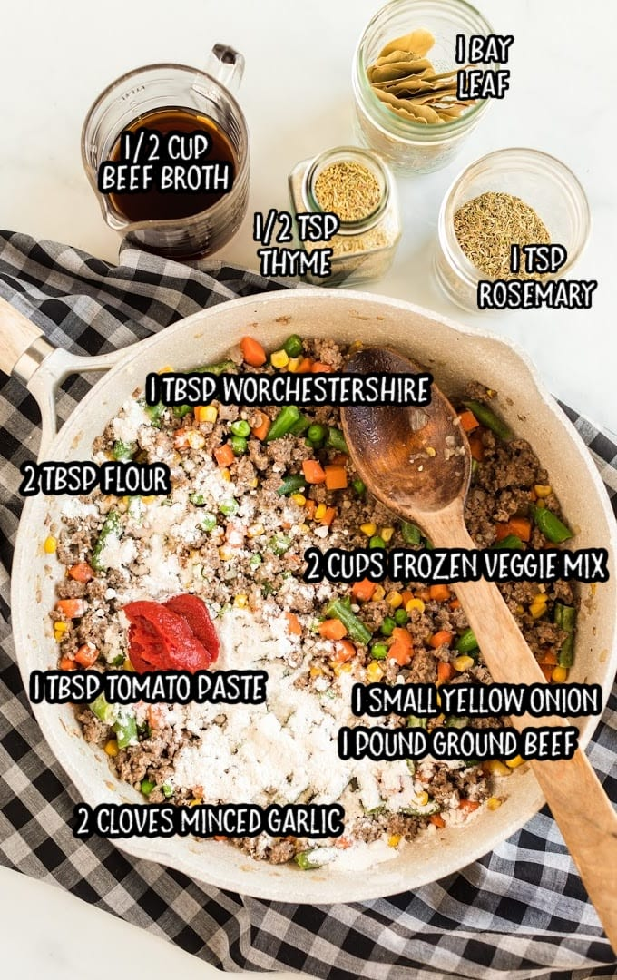 shepherd's pie raw ingredients that are labeled