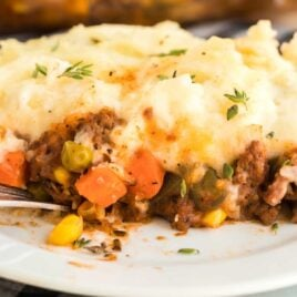 close up shot of a slice of Shepherd's Pie on a plate