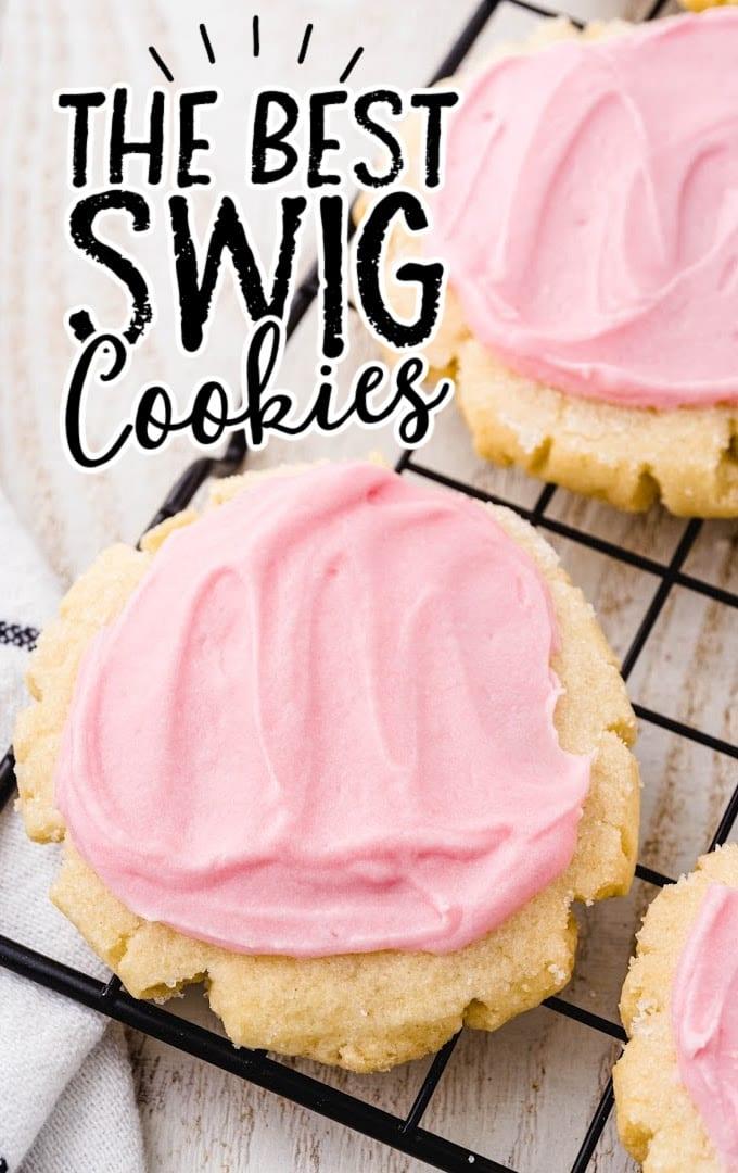close up shot of swig sugar cookie on a black cooling rack