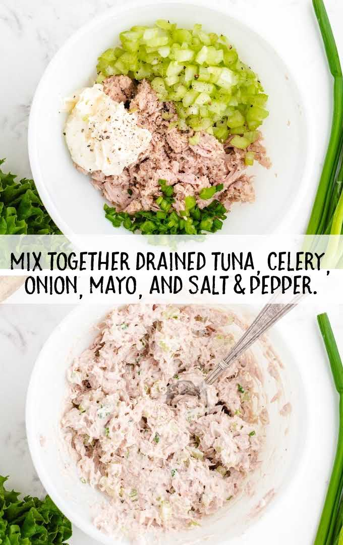 tuna sandwich process shot of ingredients mixed together in a bowl