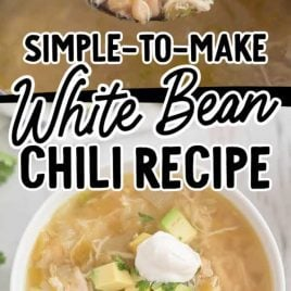 close up shot of white bean chili in a large spoon over a pot close up overhead shot of a bowl of White Bean Chili topped with avocado slices and sour cream