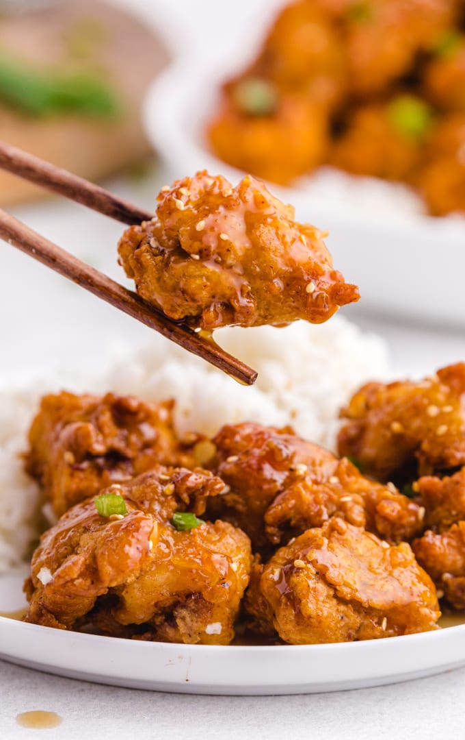 close up shot of crispy honey chicken served with white rice and being picked up with chop sticks on a white plate