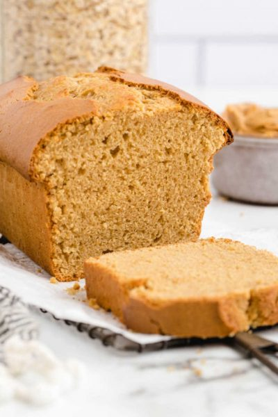 peanut butter bread loaf with a slice taken off