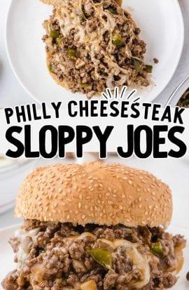 overhead shot of philly cheesesteak sloppy joes on a plate and philly cheesesteak sloppy joes on a bun
