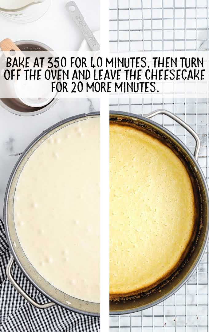 strawberry shortcake cheesecake process shot of before and after cake is baked