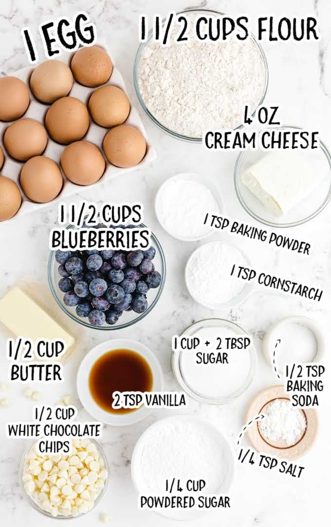blueberry cookies raw ingredients that are labeled