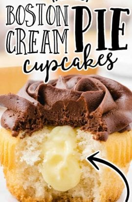 close up shot of boston cream cupcakes with chocolate frosting with a bite taken out of it showing its cream cheese filling inside