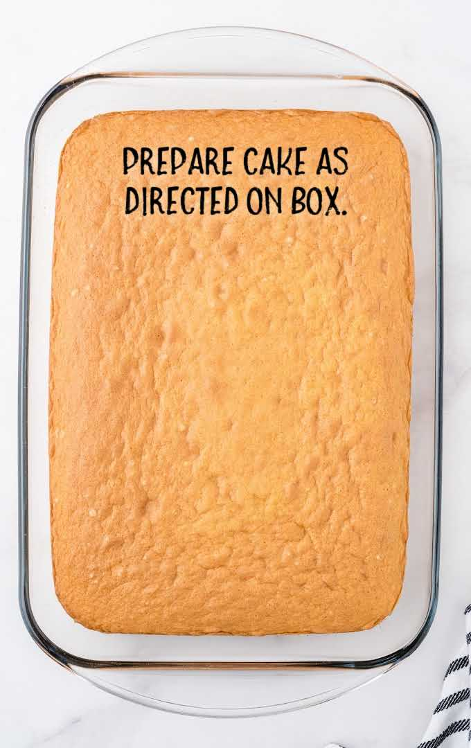 boston cream poke cake process shot after cake is baked