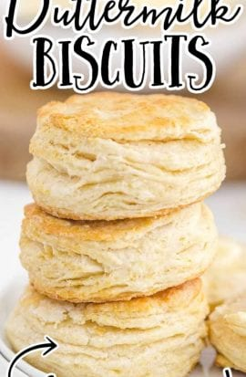 buttermilk biscuits stacked on top of each other on a plate