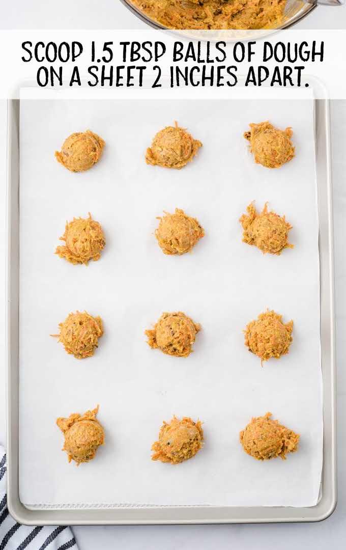 carrot cake cookies process shot of dough balls placed on a baking sheet