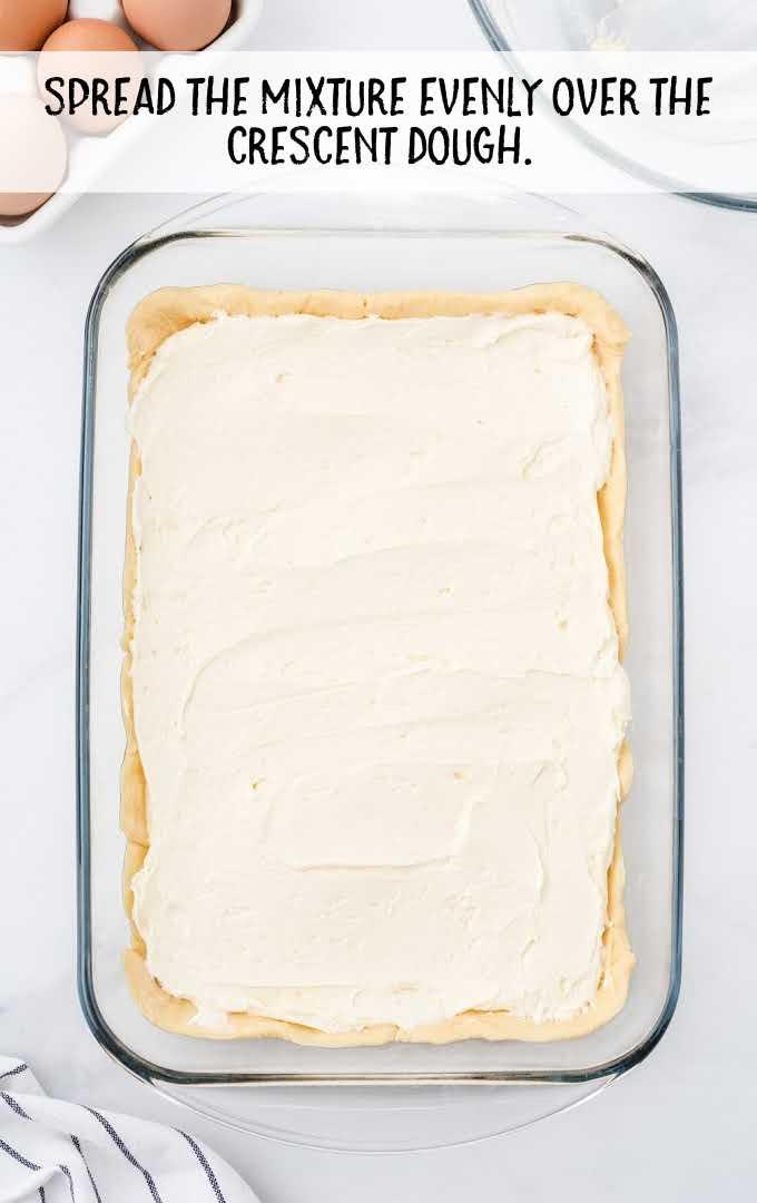 cheese danish process shot of dough in a dish