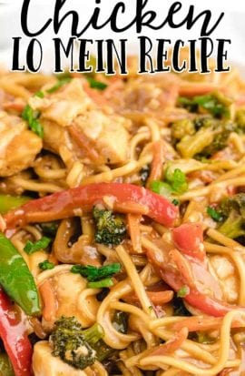 close up shot of chicken lo mein on a plate