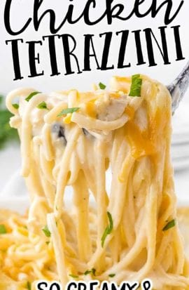 chicken tetrazzini garnished with parsley and being picked up with a fork