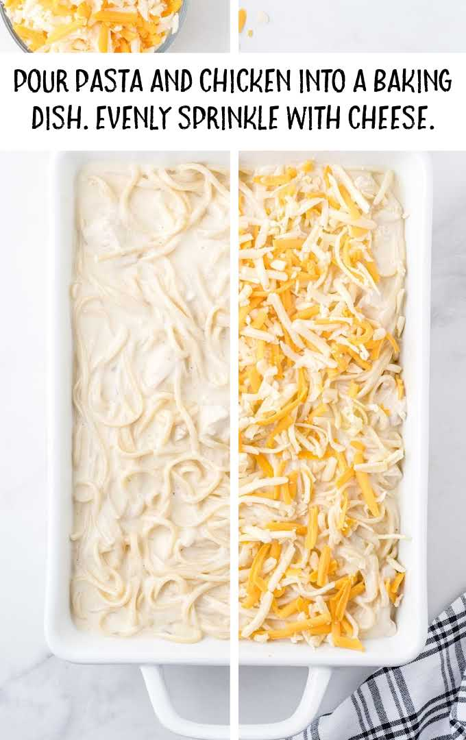 chicken tetrazzini process shot of pasta and chicken being topped with cheese in a baking dish