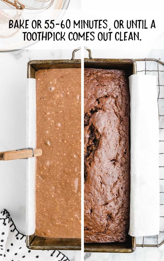 chocolate banana bread process shot of batter in a pan before and after being baked