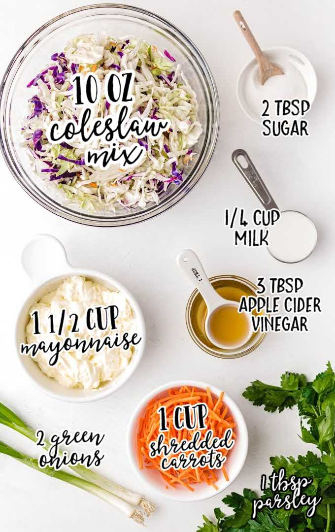 classic coleslaw raw ingredients that are labeled