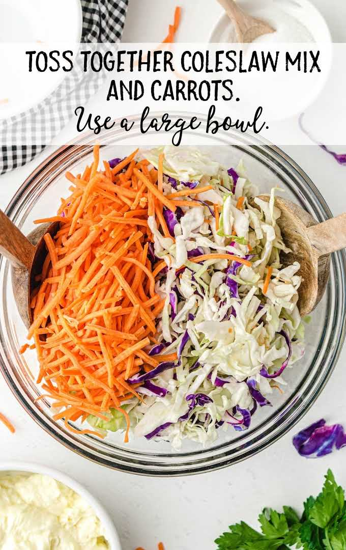 classic coleslaw process shot of ingredients in a large bowl