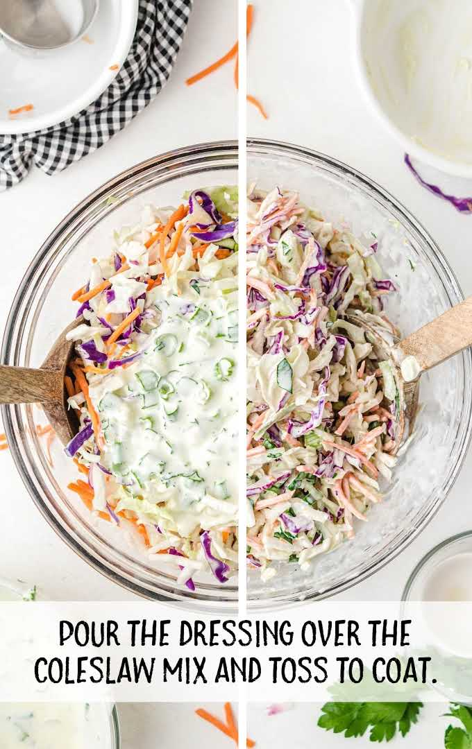 classic coleslaw process shot of salad dressing being poured and tossed into coleslaw