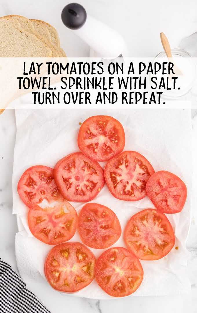 tomato sandwich process shot of tomatoes laid on a paper towel