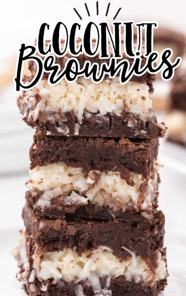 close up shot of coconut brownies stacked on top of each other