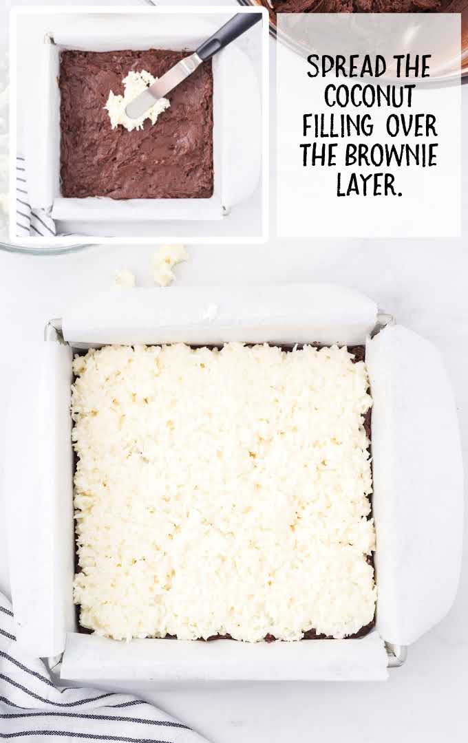 coconut brownies process shot of coconut mixture spread over brownie in a baking dish