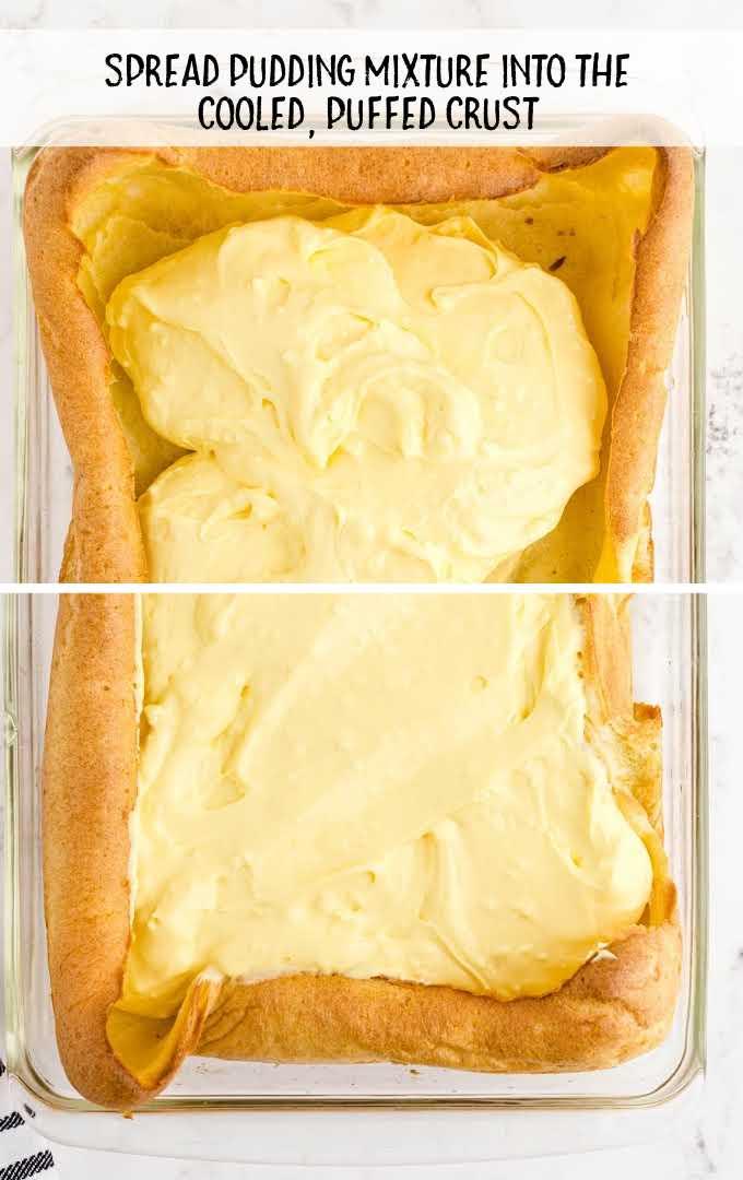 cream puff dessert process shot of pudding mixture spread on top of dough