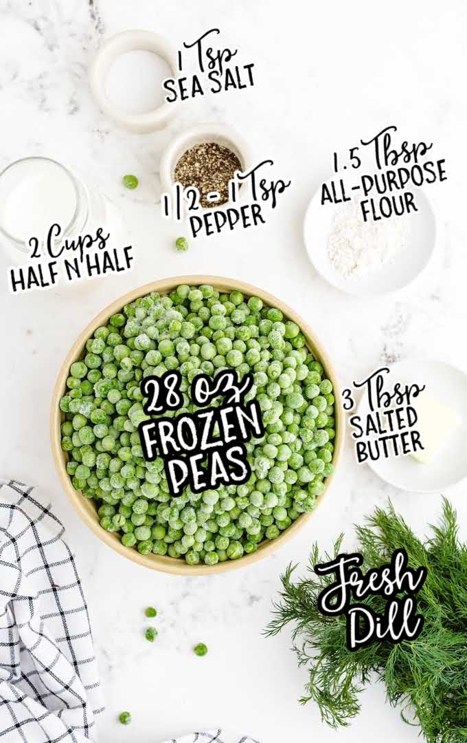 creamed peas raw ingredients that are labeled