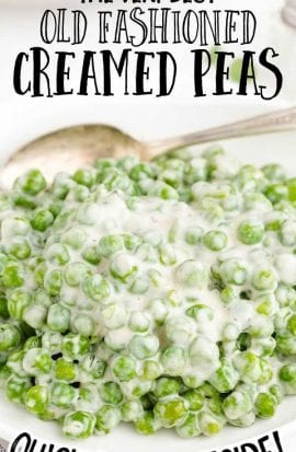 close up shot of creamed peas on a bowl with a spoon