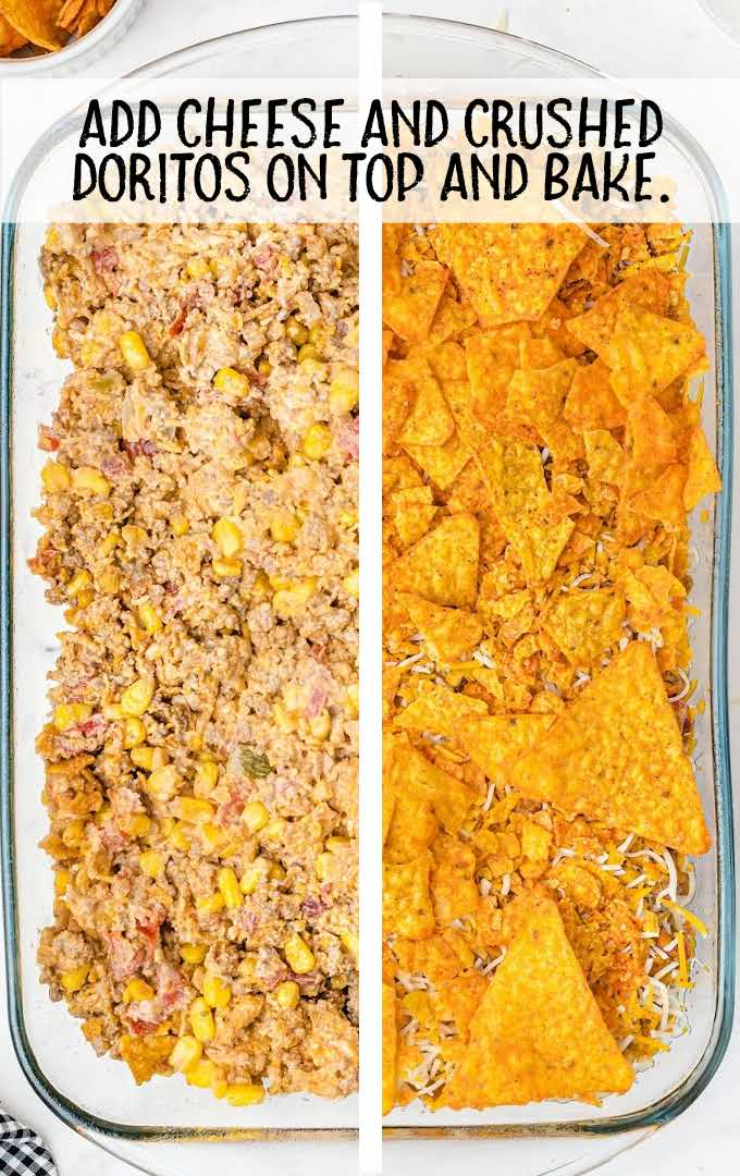 doritos casserole process shot of before and after casserole is baked