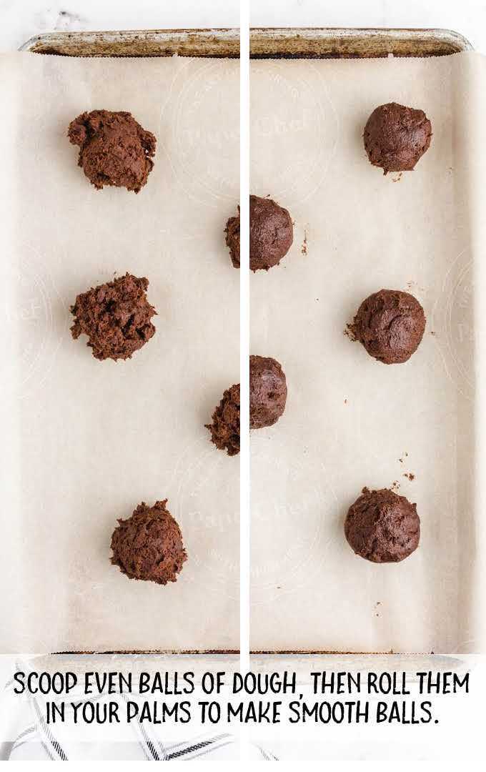 double chocolate chip cookies process shot of dough being rolled into balls and placed onto baking dish