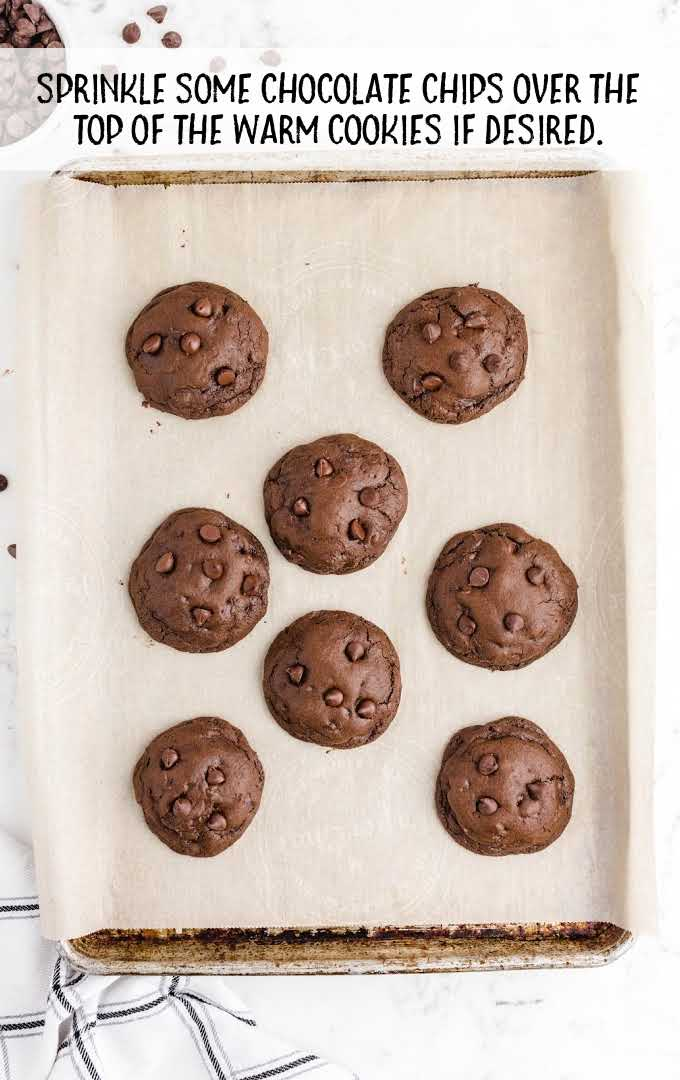 double chocolate chip cookies process shot of after cookies are baked