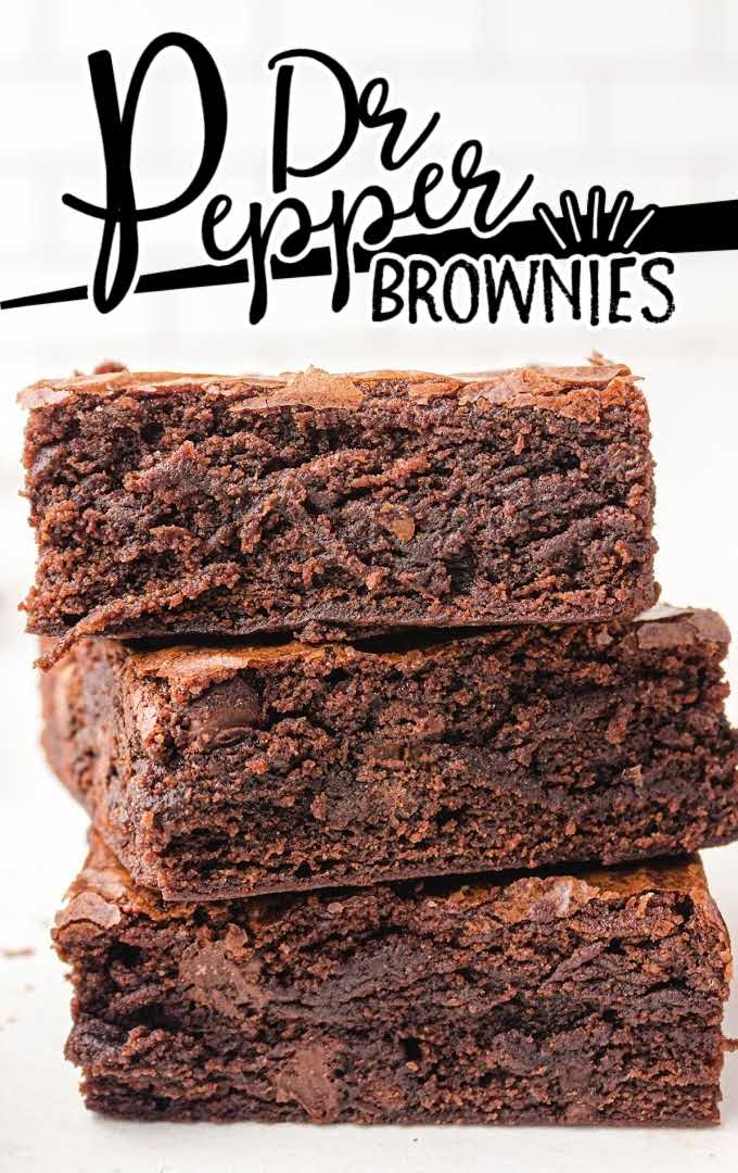 close up side shot of Dr Pepper Brownies stacked on top of each other