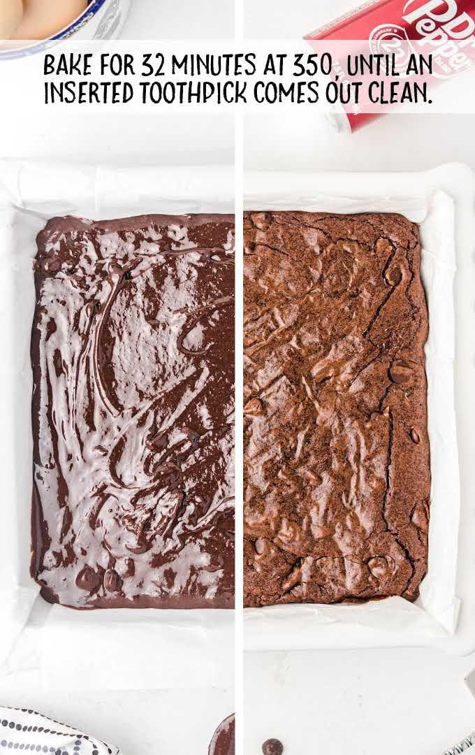 Dr Pepper Brownies process shot of before and after brownies are baked