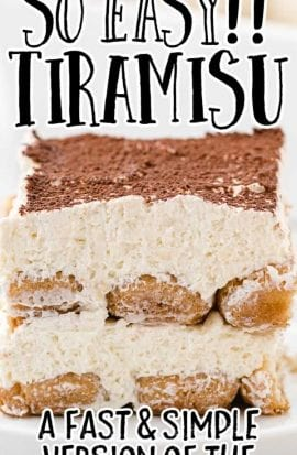close up side shot of a slice of easy tiramisu recipe on a plate