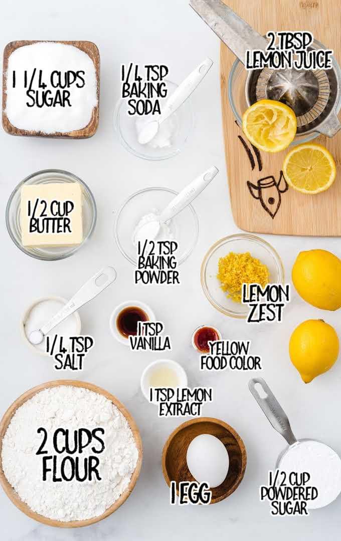 lemon crinkle cookies raw ingredients that are labeled