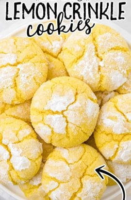 close up overhead shot of lemon crinkle cookies in a bowl