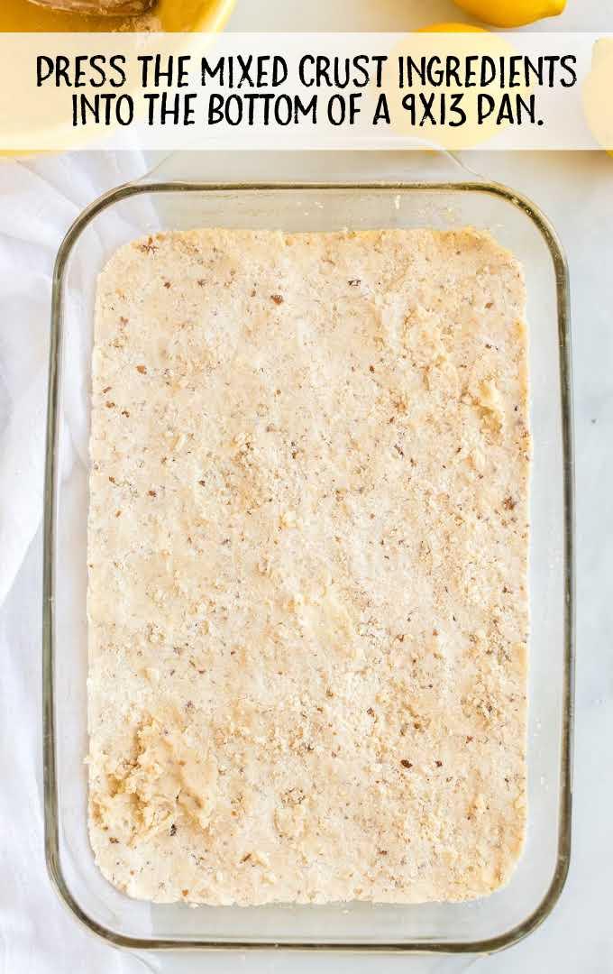 lemon lush process shot of ingredients in a baking pan