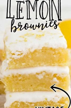 close up shot of lemon brownies stacked on top of each other