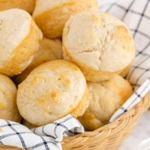 close up shot of No Yeast Dinner Rolls in a bread basket