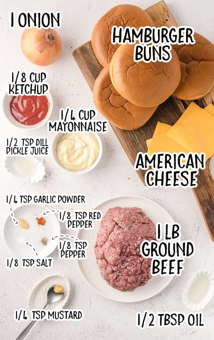 Oklahoma Fried Onion Burgers raw ingredients that are labeled