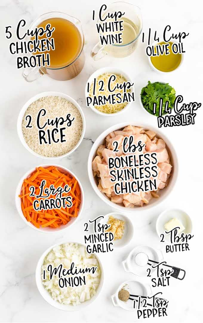 one pot chicken and rice raw ingredients that are labeled