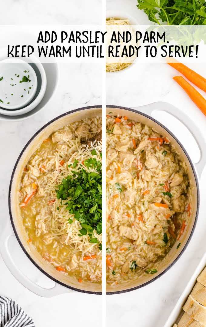 one pot chicken and rice process shot of dish being cooked in a pot