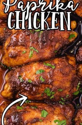 close up overhead shot of paprika chicken garnished with parsley