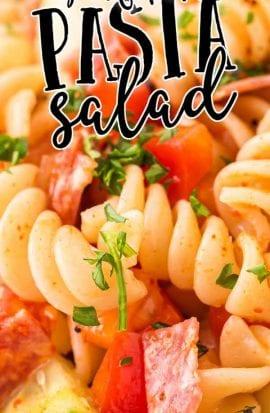 close up shot of pasta salad garnished