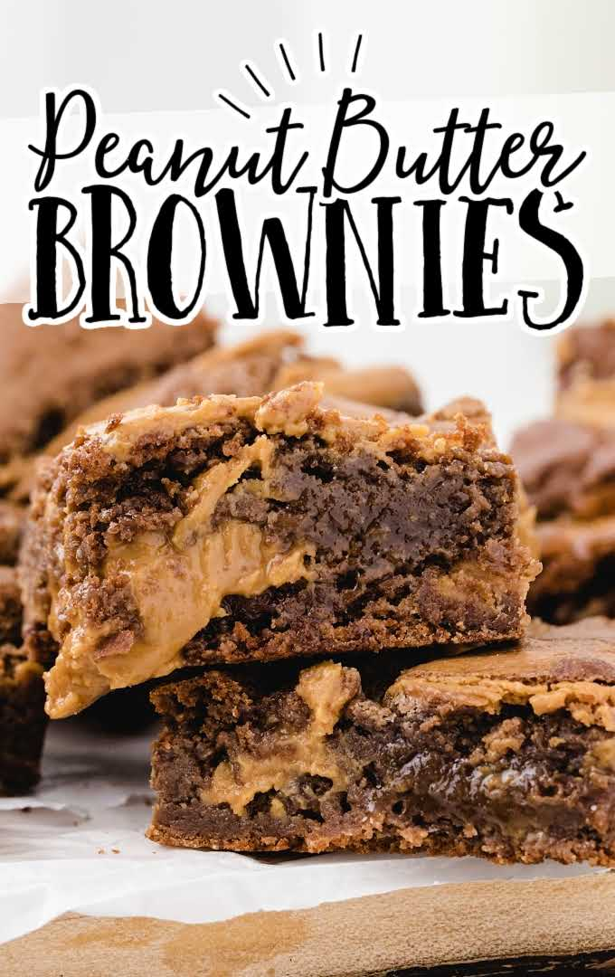 close up shot of peanut butter brownies stacked on top of each other